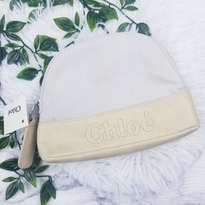 Chloe Makeup Cosmetic Bag Clutch Promo Canvas NWT